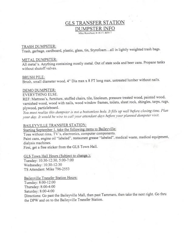 GLS Transfer Station Dumpster Info